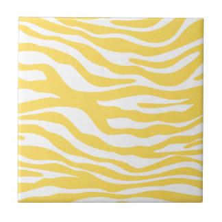 Trendy Yellow Zebra Print Pattern Small Square Tile