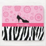 Trendy Zebra Girly Pink Shoes With Name Mousemats