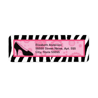 Trendy Zebra Girly Pink Shoes With Name Return Address Label