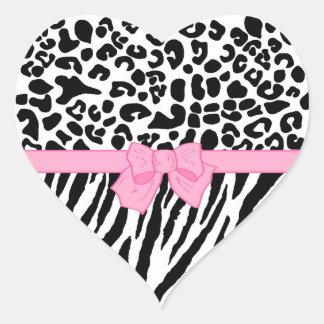 Trendy Zebra Leopard Pattern Pink Ribbon Heart Sticker