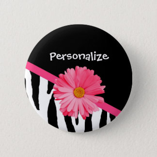 Trendy Zebra Pattern Girly Pink Daisy With Name 6 Cm Round Badge