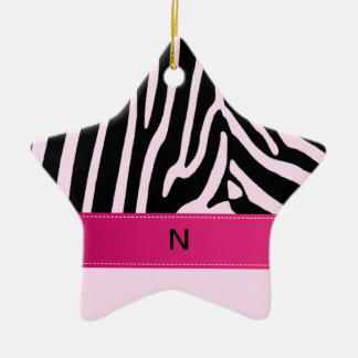 Trendy zebra pink monogram christmas ornament