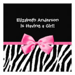 Trendy Zebra Print and Pink Ribbon Baby Shower Personalized Announcements
