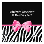 Trendy Zebra Print and Pink Ribbon Baby Shower 13 Cm X 13 Cm Square Invitation Card