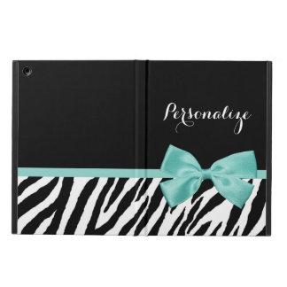 Trendy Zebra Print Aqua Mint Ribbon With Name iPad Air Case