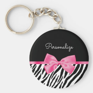 Trendy Zebra Print Chic Hot Pink Bow and Name Basic Round Button Key Ring