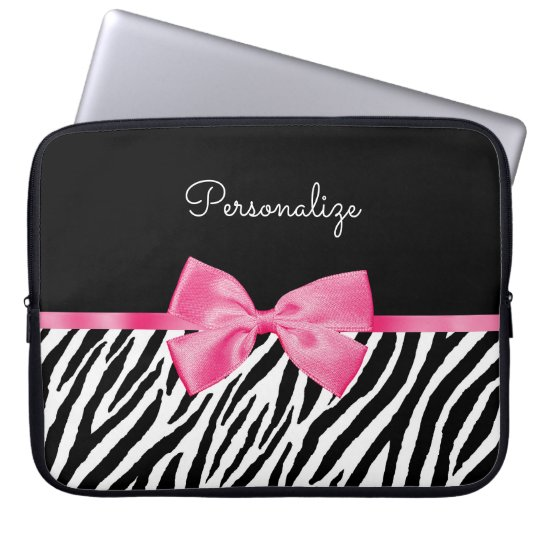 Trendy Zebra Print Chic Hot Pink Bow and