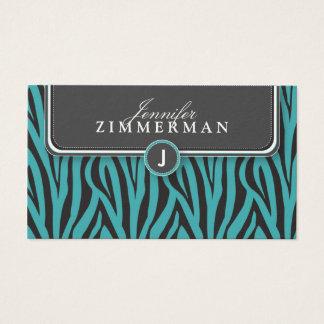 Trendy Zebra Print Designer Business Card: Aqua Business Card