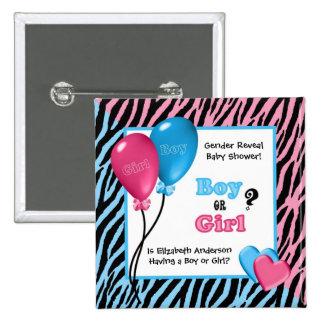 Trendy Zebra Print Gender Reveal Baby Shower 15 Cm Square Badge