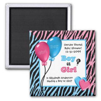 Trendy Zebra Print Gender Reveal Baby Shower Magnet