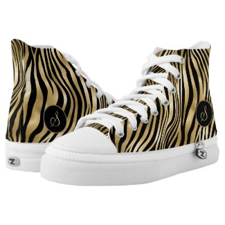 Trendy Zebra Print gold foil & black with monogram High Tops