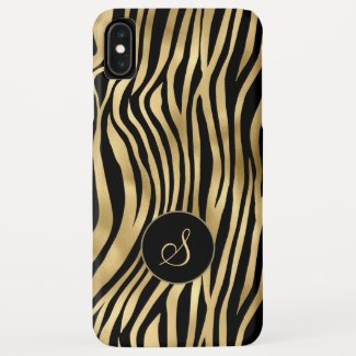 Trendy zebra print in gold and black with monogram Case-Mate iPhone case