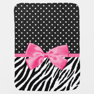 Trendy Zebra Print Polka Dots and Chic Pink Ribbon Baby Blanket
