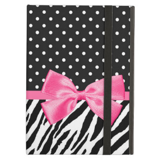 Trendy Zebra Print Polka Dots and Chic Pink Ribbon iPad Air Cover