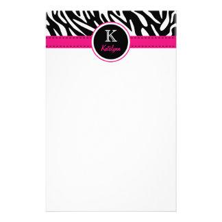 Trendy Zebra Stripes Monogrammed Stationary Stationery