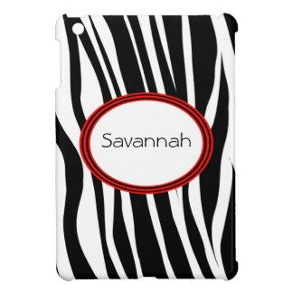 Trendy Zebra Stripes With Red Striped Seal iPad Mini Case