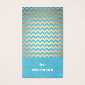 Trendy Zig Zag Pattern Turquoise Linen Look Business Card