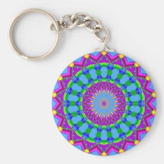 Trendy Zigzag Blue and Purple Kaleidoscope Circle Key Ring