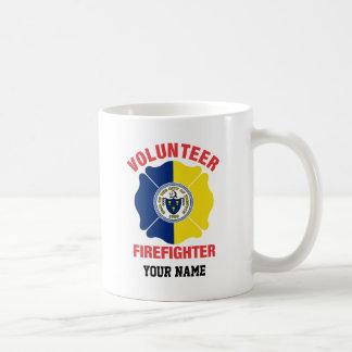 Trenton, NJ Flag Volunteer Firefighter Cross Classic White Coffee Mug