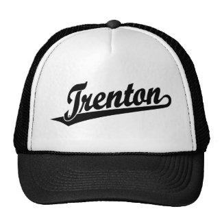 Trenton script logo in black trucker hat