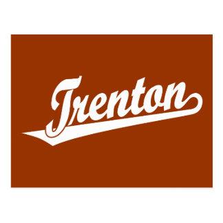 Trenton script logo in white postcard