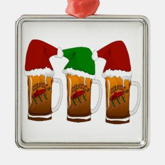 Tres Amigos Christmas Cerveza Silver-Colored Square Decoration