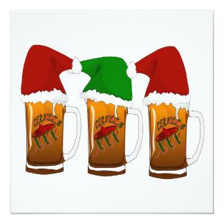 Tres Amigos Christmas Cerveza 5.25x5.25 Square Paper Invitation Card