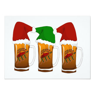 "Tres Amigos Christmas Cerveza 5.5"" X 7.5"" Invitation Card"