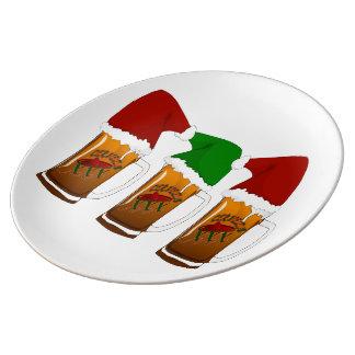 Tres Amigos Christmas Cerveza Porcelain Plate