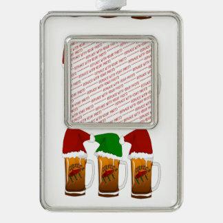 Tres Amigos Christmas Cerveza Silver Plated Framed Ornament