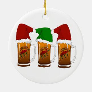 Tres Amigos Christmas Cerveza Round Ceramic Decoration