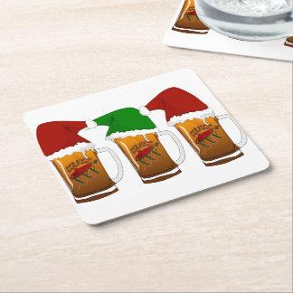 Tres Amigos Christmas Cerveza Square Paper Coaster