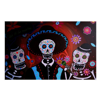 tres mariachis day of the dead poster