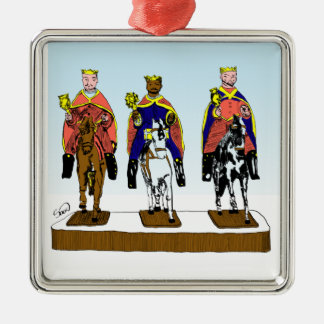 Tres Reyes Magos/ Three Wise Men Silver-Colored Square Decoration