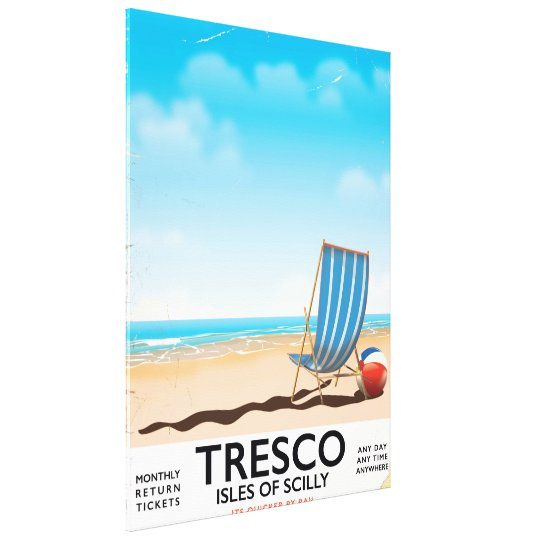 Tresco Isles of Scilly vintage train poster Canvas