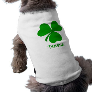 Tressa Irish Shamrock Name Sleeveless Dog Shirt
