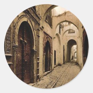 Tresure Street, Tunis, Tunisia classic Photochrom Classic Round Sticker