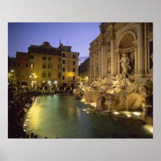 Trevi Fountain at night Rome Lazio Italy Print