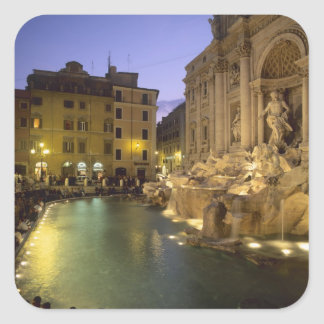 Trevi Fountain at night, Rome, Lazio, Italy Square Sticker