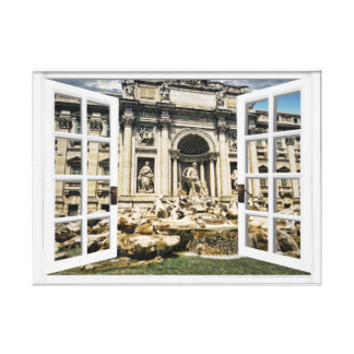 Trevi Fountain View Fake Window Canvas Print