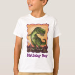 TRex Dino Birthday Boy Front and Back T-Shirt