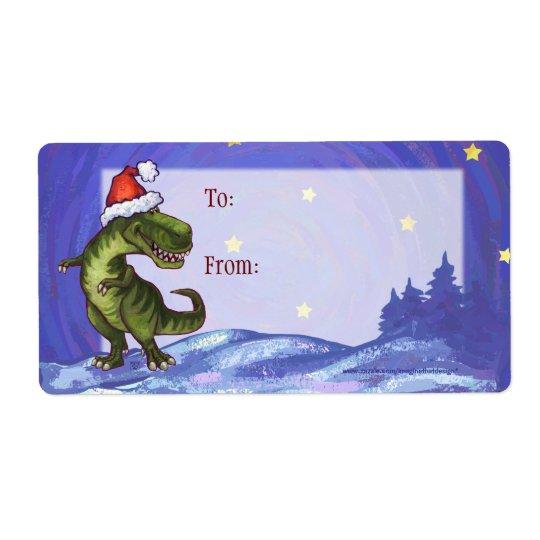 TRex Dino Christmas Gift Label
