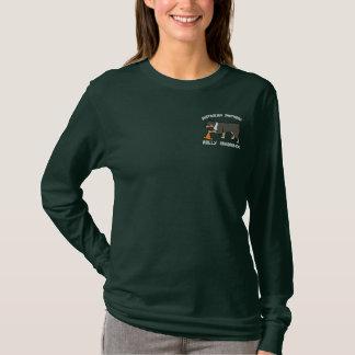 Tri Australian Shepherd Rally Obedience Embroidered Long Sleeve T-Shirt