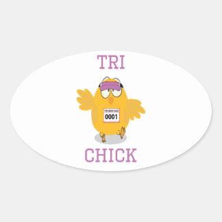 Tri Chick Oval Sticker