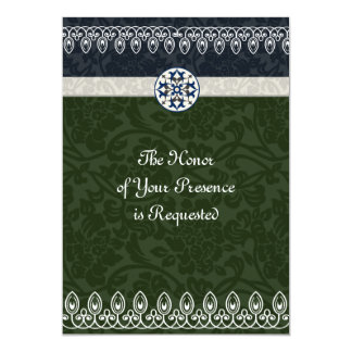Tri-Color Brocade Wedding Invitation