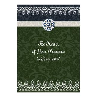 """Tri-Color Brocade Wedding Invitation 5"""" X 7"""" Invitation Card"""