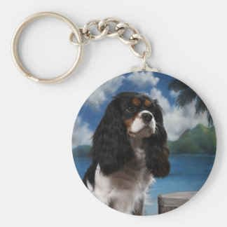 Tri color Cavalier King Charles Spaniel Basic Round Button Key Ring