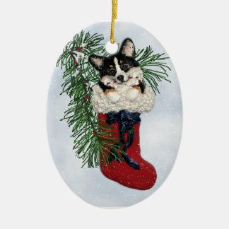 Tri-Color Corgi in Christmas Stocking Ornament