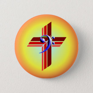 Tri-Color Cross with Bass Clef 6 Cm Round Badge