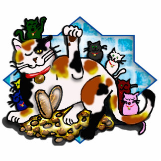 tri-color maneki neko w/7 kittens cut out